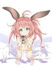 1girl animal_ears book bunny_ears character_request from_above green_eyes harem_outfit highres loincloth long_hair looking_at_viewer looking_up mitsuru_(habihapi) navel pink_hair shadow simple_background smile solo twintails two_side_up white_background