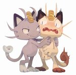 alolan_form alolan_meowth bluekomadori blush cat closed_mouth commentary creature english_commentary fangs full_body gen_1_pokemon highres hug meowth no_humans open_mouth pokemon pokemon_(creature) scared simple_background smile standing white_background