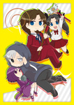2boys 2girls black_eyes blue_eyes brown_hair chibi crest_worm facial_hair family fate/zero fate_(series) formal gem goatee grey_hair heterochromia hood hoodie insect kokumosu matou_kariya matou_sakura multiple_boys multiple_girls purple_eyes purple_hair staff suit toosaka_rin toosaka_tokiomi twintails wand white_eyes