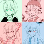 4girls :d antennae bangs bird_wings blue bow cape closed_mouth collage collarbone collared_shirt eyebrows_visible_through_hair feathered_wings fire fujiwara_no_mokou green hair_between_eyes hair_bow hair_ornament hand_up hat kamishirasawa_keine long_hair looking_at_viewer looking_away monochrome multiple_girls mystia_lorelei neck_ribbon open_mouth pink portrait red red_eyes ribbon shirt short_hair simple_background six_(fnrptal1010) smile spot_color suspenders tareme touhou tsurime undershirt v-shaped_eyebrows winged_hat wings wriggle_nightbug