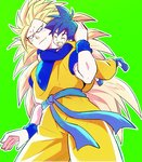 2boys aqua_eyes black_eyes black_hair blonde_hair closed_eyes dougi dragon_ball dragon_ball_z father_and_son green_background happy hug hug_from_behind long_hair looking_at_another male_focus multiple_boys open_mouth rochiko_(bgl6751010) simple_background smile son_gokuu son_goten spiked_hair super_saiyan_3 very_long_hair wristband
