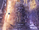aircraft arsenixc building cityscape cyberpunk flying_car highres lens_flare meteora no_humans orange_theme purple_theme realistic scenery science_fiction sun