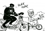 1girl bicycle bike_horn bkub_(style) chen crossover greyscale ground_vehicle honk_honk lineart long_tongue marvel monochrome moped motor_vehicle motorcycle parody ragathol riding sketch symbiote tongue touhou venom_(marvel) what