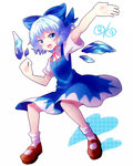 (9) 1girl arm_up blue_dress blue_eyes blue_hair bow cirno dress full_body hair_bow ice light_blue_hair shoes short_hair smile socks solo touhou white_background yoriyomo