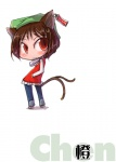 1girl animal_ears cat_ears cat_tail character_name chen chibi earrings fang hands_in_pockets hat jewelry multiple_tails red_eyes slit_pupils solo tail tao_(kadoya) touhou
