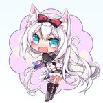 1girl american_flag american_flag_print animal_ears apron azur_lane bangs black_bow black_dress bow cat_ears cat_girl chibi choker commentary_request covering covering_ass dress flag_print frilled_apron frills hair_bow hammann_(azur_lane) long_hair print_neckwear puffy_short_sleeves puffy_sleeves red_choker setsugetsu_yue short_sleeves silver_hair solo waist_apron white_apron wrist_cuffs