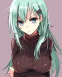 1girl alternate_costume aosaki_yukina aqua_hair blue_eyes breast_hold breasts bust crossed_arms hair_ornament hairclip kantai_collection long_hair looking_at_viewer ribbed_sweater solo suzuya_(kantai_collection) sweater turtleneck