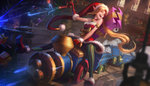 1girl :d ambitious_elf_jinx bare_shoulders blonde_hair blurry box closed_eyes commentary depth_of_field doll dress dutch_angle eyeball fur_trim gift gift_box gloves ground_vehicle gun handgun highres indoors jem_flores league_of_legends long_hair long_pointy_ears mittens open_mouth pantyhose pistol pointy_ears red_dress red_footwear red_gloves riding shelf smile solo strapless strapless_dress striped striped_legwear stuffed_animal stuffed_toy teddy_bear train vertical-striped_legwear vertical_stripes very_long_hair weapon window