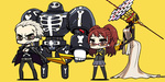 1boy 1girl arms_behind_back blonde_hair brown_hair chan_co chibi clenched_teeth glasses himiko_(persona_4) jacket_on_shoulders kujikawa_rise long_hair persona persona_4 school_uniform serafuku short_hair smile standing take-mikazuchi tatsumi_kanji teeth thighhighs twintails