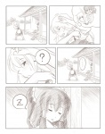 2girls ? ao_usagi comic greyscale hakurei_reimu kirisame_marisa monochrome multiple_girls silent_comic sleeping touhou zzz