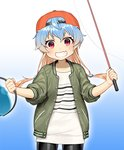 1girl akasaka_yuzu alternate_costume baseball_cap bike_shorts black_shorts blonde_hair blue_hair bucket commentary_request cowboy_shot fishing_rod gradient gradient_background gradient_hair green_background green_jacket grin hat jacket kantai_collection long_hair multicolored_hair official_art red_eyes red_headwear sado_(kantai_collection) shirt shorts skin_fang sleeves_rolled_up smile solo standing striped striped_shirt tsurime white_shirt