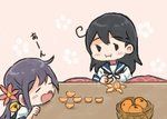 2girls ahoge akebono_(kantai_collection) bell black_hair bowl closed_eyes comic eating flower food fruit gameplay_mechanics hair_bell hair_flower hair_ornament holding holding_food jingle_bell kantai_collection kotatsu long_hair mandarin_orange multiple_girls open_mouth orange_peel otoufu purple_hair school_uniform serafuku side_ponytail table translated ushio_(kantai_collection)