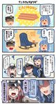 /\/\/\ 1boy 2girls 4koma :d ^_^ ^o^ admiral_(kantai_collection) black_hair blonde_hair blue_eyes brainwashing brown_gloves capelet closed_eyes comic commentary gloves gotland_(kantai_collection) graf_zeppelin_(kantai_collection) hat highres ido_(teketeke) irasutoya kantai_collection long_hair military military_uniform mole mole_under_eye motion_lines multiple_girls open_mouth parody peaked_cap pointing purple_eyes shaded_face sidelocks sitting smile speech_bubble style_parody translation_request twintails uniform white_gloves
