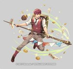 1boy bag belt biscuit boots cuboon fire_emblem fire_emblem_echoes:_mou_hitori_no_eiyuuou fire_emblem_heroes food full_body grey_background jam lukas_(fire_emblem) male_focus necktie official_art pot red_eyes red_hair sandwich solo sparkle staff vest