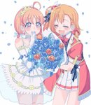 2girls bokura_no_live_kimi_to_no_life bouquet covering_mouth cream_(nipakupa) dress flower hand_over_own_mouth inami_anju kousaka_honoka love_live! love_live!_school_idol_project love_live!_sunshine!! multiple_girls nitta_emi seiyuu_connection smile takami_chika thank_you_friends!!