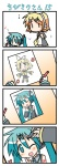 0_0 2girls 4koma aqua_hair chibi chibi_miku comic drawing hatsune_miku heart kagamine_rin marker minami_(colorful_palette) multiple_girls silent_comic smile translated vocaloid |_|