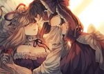 2girls bare_shoulders blonde_hair bow breasts brown_hair cleavage collar commentary_request detached_collar detached_sleeves dress eye_contact frilled_bow frilled_collar frilled_dress frills from_side gloves hair_bow hair_tubes hakurei_reimu hat hat_ribbon highres large_breasts long_hair long_sleeves looking_at_another lying mob_cap multiple_girls neck_ribbon off-shoulder_dress off_shoulder on_back parted_lips profile puffy_short_sleeves puffy_sleeves purple_dress red_bow red_dress red_eyes red_neckwear red_ribbon ribbon short_sleeves touhou white_bow white_gloves wide_sleeves wiriam07 yakumo_yukari yuri