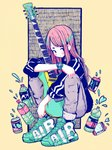 1girl absurdres aqua_footwear bangs black_jacket blush_stickers bottle can commentary crisalys drink full_body grey_pants guitar highres instrument jacket liquid long_hair long_sleeves no_nose original pants pink_hair shoes solo squatting watch yellow_background