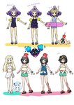 3girls acerola_(pokemon) adapted_costume alola_form alolan_vulpix beanie bikini black_hair blonde_hair blue_eyes cosmog elite_four eyewear_on_head gen_7_pokemon green_eyes green_shorts hair_ornament half_updo hat highres innertube kingin lillie_(pokemon) long_hair mizuki_(pokemon_sm) multiple_girls one-piece_swimsuit pokemon pokemon_(anime) pokemon_(creature) pokemon_sm_(anime) purple_eyes purple_hair red_hat sandals sandygast short_hair shorts snorkel striped striped_swimsuit sunglasses swimsuit trial_captain white_bikini z-ring