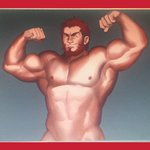 1boy abs armpits bara beard biceps chest commentary_request facial_hair fate/grand_order fate_(series) flexing highres male_focus muscle nipples nude pectorals pose powerlesssong red_eyes red_hair rider_(fate/zero) simple_background smile