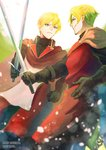 2boys belt black_gloves blonde_hair blue_eyes blurry_foreground brown_cape cape clenched_hand copyright_name day dylan_the_island_king ethan_the_exiled_hero eye_contact facial_hair glint gloves holding holding_sword holding_weapon looking_at_another male_focus mizuki_apple multiple_boys outdoors pixiv_fantasia pixiv_fantasia_last_saga red_cape smirk standing stubble sword weapon white_sky