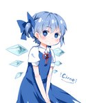 1girl alternate_hairstyle between_legs blue_eyes blue_hair blush bow character_name cirno commentary embarrassed grin hair_bow hair_up hand_between_legs highres ice ice_wings leaning_forward looking_at_viewer looking_to_the_side neck_ribbon plug_(feng-yushu) puffy_short_sleeves puffy_sleeves ribbon short_hair short_ponytail short_sleeves side_ponytail simple_background sketch smile solo touhou white_background wings