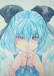 1girl :3 blue_eyes blue_hair bow cirno crossed_fingers graphite_(medium) hair_bow highres ice ice_wings looking_at_viewer neck_ribbon ribbon short_hair solo touhou traditional_media upper_body watercolor_(medium) wings x yuyu_(00365676)