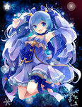 1girl :d artist_name bangs blue_eyes blue_hair bow detached_sleeves dress earrings eyebrows_visible_through_hair frilled_dress frills full_body hair_bow hair_ornament hairclip hatsune_miku highres holding holding_wand jewelry leg_garter legs_up long_hair looking_at_viewer midair no_socks open_mouth puracotte shoes smile snowflakes solo star treble_clef twintails very_long_hair vocaloid wand yuki_miku