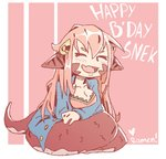 1girl :d animal_ears artist_name blue_jacket breasts cleavage closed_eyes commentary english english_commentary facing_viewer hair_ornament happy_birthday heart jacket lamia long_hair miia_(monster_musume) monster_girl monster_musume_no_iru_nichijou open_mouth orange_hair pink_background ramenwarwok scales signature sitting smile solo very_long_hair