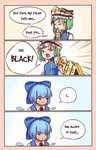4koma bangs beige_background blue_background blue_bow blue_dress blue_hat blue_vest border bow breasts cirno clenched_teeth closed_eyes comic commentary dress emphasis_lines english english_commentary eyebrows_visible_through_hair frilled_hat frills gradient gradient_background green_eyes green_hair hair_bow hat highres holding ice ice_wings long_sleeves looking_to_the_side pinafore_dress red_neckwear rod_of_remorse shiki_eiki shirt short_hair small_breasts speech_bubble sweat tan tanned_cirno teeth touhou upper_body v-shaped_eyebrows vest white_shirt wings yoruny