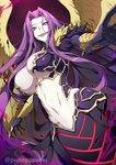 1girl bangs breasts bustier claws cleavage fate/grand_order fate_(series) forehead gorgon_(fate) highres large_breasts long_hair looking_at_viewer monster_girl navel open_mouth pale_skin parted_bangs purple_eyes purple_hair rider scales slit_pupils smile snake_tail solo tail very_long_hair wings zeroshiki_kouichi