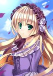 1girl blonde_hair dress floating_hair flower frills gosick green_eyes hairband hime_cut light_smile lolita_fashion lolita_hairband long_hair looking_at_viewer petals purple_dress purple_ribbon purple_rose ribbon rose sky solo tooda_riko upper_body victorica_de_blois wind