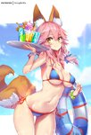 1girl animal_ear_fluff animal_ears bangs bare_shoulders bendy_straw bikini blue_bikini blue_bow blue_sky blush bow bracelet breasts brown_eyes closed_mouth cloud cloudy_sky collarbone commentary cup day drink drinking_glass drinking_straw eyebrows_visible_through_hair fate/grand_order fate_(series) fingernails food fox_ears fox_girl fox_tail hair_between_eyes hair_bow hand_up holding holding_tray hong_(white_spider) ice_cream ice_cream_float innertube jewelry large_breasts long_hair looking_at_viewer nail_polish navel pink_hair red_nails side-tie_bikini signature sky smile solo swimsuit tail tamamo_(fate)_(all) tamamo_no_mae_(swimsuit_lancer)_(fate) transparent tray wafer_stick