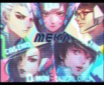 2girls 3boys animated black-framed_eyewear black_hair brown_eyes brown_hair casino_(overwatch) character_name collar commentary d.mon_(overwatch) d.va_(overwatch) english_commentary epilepsy_warning face glasses headphones headset huge_filesize king_(overwatch) long_hair medium_hair multiple_boys multiple_girls overlord_(overwatch) overwatch pilot_suit portrait scanlines short_hair silver_hair television_screen the_cecile visardist whisker_markings