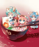 1boy 2018 2girls :3 >_< ahoge animal_ears aqua_eyes aqua_hair blue_hair bowl chestnut_mouth chibi chopsticks commentary_request eating flower food hair_flower hair_ornament hairband happy_new_year hatsune_miku highres in_bowl in_container in_food japanese_clothes kaito kimono long_hair megurine_luka miniboy minigirl mochi multiple_girls new_year niwako pink_hair scarf soup sweatdrop very_long_hair vocaloid wagashi wavy_mouth zouni_soup