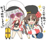 2girls bag bangs bikini bikini_top blush breasts brown_hair camera check_commentary chibi cleavage commentary_request dress eyebrows_visible_through_hair floral_print flower gangut_(kantai_collection) grey_hair hair_flower hair_ornament hairclip hat hizuki_yayoi innertube kantai_collection lei long_hair multiple_girls navel open_mouth papakha scar shorts simple_background star suitcase sunglasses swimsuit tashkent_(kantai_collection) translated white_background