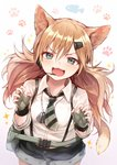 1girl :d animal_ears bangs black_shorts blue_eyes blush breasts cat_ears cat_girl cat_tail collared_shirt commentary_request dog_tags eyebrows_visible_through_hair fangs fingerless_gloves fingernails girls_frontline gloves gradient gradient_background green_gloves hair_between_eyes hair_ornament hairclip headset highres idw_(girls_frontline) light_brown_hair long_hair looking_at_viewer open_mouth purple_background shirt short_shorts shorts small_breasts smile solo sparkle sukemyon suspender_shorts suspenders tail very_long_hair white_background white_shirt