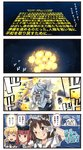 4girls 4koma ^_^ ^o^ black_headwear blonde_hair brown_eyes brown_hair closed_eyes clothes_writing comic commentary_request depth_charge double_bun eighth_note explosion gloves hair_between_eyes hat highres holding holding_microphone ido_(teketeke) kantai_collection long_hair low_twintails microphone multiple_girls musical_note naka_(kantai_collection) o_o one_eye_closed open_mouth parody puffy_short_sleeves puffy_sleeves sailor_collar sailor_hat satsuki_(kantai_collection) shinkaisei-kan short_hair short_sleeves smile speech_bubble star_wars submarine_new_hime tongue tongue_out translated twintails white_gloves white_hair white_sailor_collar z3_max_schultz_(kantai_collection)