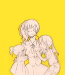 1boy 2girls ^_^ androgynous child closed_eyes cravat dress mericanon monochrome mother_and_daughter multiple_girls open_mouth ponytail shorts siblings side_ponytail sketch smile umineko_no_naku_koro_ni ushiromiya_jessica ushiromiya_lion ushiromiya_natsuhi yellow_background younger