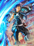 4boys armor asymmetrical_sleeves blue_eyes blue_hair cape clenched_teeth company_connection copyright_name faceless faceless_male falchion_(fire_emblem) fire_emblem fire_emblem:_kakusei fire_emblem_cipher gloves glowing glowing_weapon helmet holding holding_sword holding_weapon horned_helmet kita_senri krom male_focus multiple_boys official_art outdoors parted_lips sheath short_hair shoulder_armor solo_focus sword teeth weapon