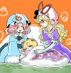 3girls =_= animal_ears blanket blonde_hair blue_dress bow closed_eyes commentary dress elbow_gloves fox_ears futon gloves hand_on_another's_head hat hat_bow hat_ribbon highres komaku_juushoku long_hair mob_cap multiple_girls pillow pink_hair puffy_short_sleeves puffy_sleeves purple_dress red_eyes ribbon saigyouji_yuyuko short_hair short_sleeves sleeping sleeves_past_wrists smile touhou triangular_headpiece under_covers yakumo_ran yakumo_yukari