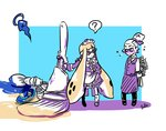 1boy 1girl ? apron arms_behind_back artist_name bangs blunt_bangs blush bouquet butler cookie_(zoza) death domino_mask donut_(zoza) dress flower flying_sweatdrops hair_slicked_back halo hand_on_hip hat hat_flower holding holding_weapon inkbrush_(splatoon) inkling lollipop_(zoza) long_sleeves looking_at_viewer maid maid_headdress mary_janes mask octobrush_(splatoon) paint_splatter pants pointy_ears scrunchie shirt shoes signature socks splatoon_(series) splatoon_1 spoken_question_mark standing t-shirt topknot weapon white_hair zoza