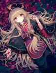 1girl ainy77 black_dress black_headwear blonde_hair chinese_clothes commentary_request crescent dress fingernails frilled_sleeves frills from_above hair_between_eyes hat highres junko_(touhou) long_hair long_sleeves looking_at_viewer lying on_back parted_lips petals red_eyes revision ribbon rose_petals sash shiny shiny_hair solo tabard tareme tassel touhou wide_sleeves yellow_ribbon
