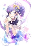 1girl :d aikatsu! aikatsu!_(series) bangs black_shirt blue_flower blush bow commentary_request cup dress earrings eyebrows_visible_through_hair fingernails flower hair_bow hair_flower hair_ornament hands_up highres holding holding_cup jewelry kiriya_aoi looking_at_viewer off-shoulder_dress off_shoulder open_mouth puracotte purple_eyes purple_flower purple_hair shirt sidelocks sleeveless sleeveless_shirt smile solo yellow_bow