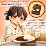 1girl brown_eyes brown_hair colored_pencil_(medium) commentary_request cup curry curry_rice dated drinking_glass eating food holding holding_spoon japanese_clothes kantai_collection kasuga_maru_(kantai_collection) kirisawa_juuzou numbered rice short_hair smile solo spoon spoon_in_mouth traditional_media translation_request twitter_username