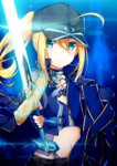 1girl artoria_pendragon_(all) bangs baseball_cap black_hat black_shorts blue_eyes blue_jacket blue_shirt closed_mouth commentary_request eyebrows_visible_through_hair fate/extella fate/extra fate/grand_order fate_(series) fingerless_gloves gloves glowing glowing_sword glowing_weapon hair_between_eyes hair_through_headwear hat highres holding holding_sword holding_weapon jacket jacket_on_shoulders long_hair long_sleeves mysterious_heroine_x navel ponytail rojiura_satsuki:_chapter_heroine_sanctuary shirt shorts sidelocks solo sword taiyaki_(astre) track_jacket weapon