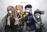 404_(girls_frontline) 4girls absurdres arm_across_waist armband bangs belt beret black_gloves black_jacket black_legwear blunt_bangs blush breasts brown_eyes brown_hair buckle expressionless eyebrows_visible_through_hair facial_mark fingerless_gloves g11_(girls_frontline) girls_frontline gloves green_eyes hair_between_eyes hair_ornament hairclip half-closed_eyes hand_on_hip hat highres hk416_(girls_frontline) hood hood_down hooded_jacket huge_filesize jacket long_hair long_sleeves looking_at_viewer medium_breasts midriff_peek multiple_girls navel off_shoulder one_side_up open_clothes open_jacket pantyhose plaid plaid_skirt pleated_skirt scar scar_across_eye scarf scarf_on_head shirt shorts shoulder_cutout silver_hair skirt smile taru_kira teardrop thighhighs twintails ump45_(girls_frontline) ump9_(girls_frontline) very_long_hair yellow_eyes
