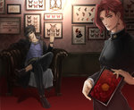2015 2boys armchair belt black_hair black_jacket black_pants black_shoes blue_shirt brown_hair butterfly buttons chain chair copyright_name crossed_legs dated earrings flower framed_insect gakuran hat high_collar holding holding_photo indoors jacket jewelry jojo_no_kimyou_na_bouken kakyouin_noriaki kitaka_(deeper50) kuujou_joutarou lamp light loafers long_sleeves male_focus multiple_boys no_socks open_clothes open_jacket pants peony_(flower) photo_(object) picture_frame purple_eyes red_hair school_uniform shadow shirt shoes sitting wainscoting wallpaper_(object) watch wristwatch