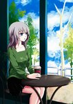 1girl bangs black_skirt blue_eyes blue_sky casual chair cloud cloudy_sky coffee_cup commentary_request cup day disposable_cup eyebrows_visible_through_hair girls_und_panzer green_shirt highres holding holding_cup indoors itsumi_erika long_hair long_sleeves looking_to_the_side miniskirt parted_lips pleated_skirt revision shirt silver_hair sitting skirt sky solo table tablecloth tree umxzo window