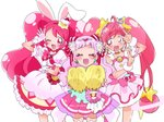 3girls ;d animal_ears bow bunny_ears cake_hair_ornament choker closed_eyes color_connection cowboy_shot cure_star cure_whip cure_yell double_bun double_v dress earrings extra_ears eyelashes facing_viewer flower food_themed_hair_ornament gloves hair_color_connection hair_flower hair_ornament hair_ribbon hairband hoshina_hikaru hugtto!_precure jewelry kirakira_precure_a_la_mode long_hair looking_at_viewer magical_girl momomo_(344343) multiple_girls nono_hana one_eye_closed open_mouth pink_bow pink_eyes pink_hair pink_neckwear pink_skirt precure red_hairband red_ribbon ribbon see-through simple_background skirt smile standing star star_choker star_hair_ornament star_twinkle_precure thighhighs twintails usami_ichika v white_background white_dress white_gloves zettai_ryouiki